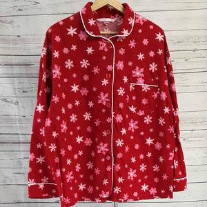 Victoria's Secret red snowflake flannel pajama top